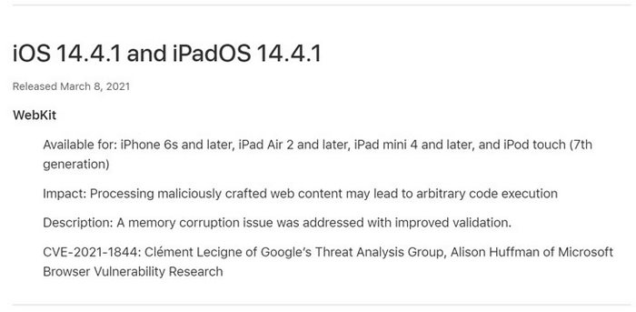 takian.ir apple issues patch for remote hacking